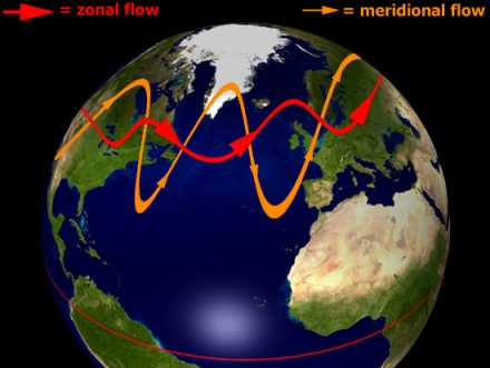 Fijaos en la línea naranja de la imagen. A eso nos referimos cuando decimos que la corriente en chorro está permitiendo que el aire polar alcance latitudes más al Sur.